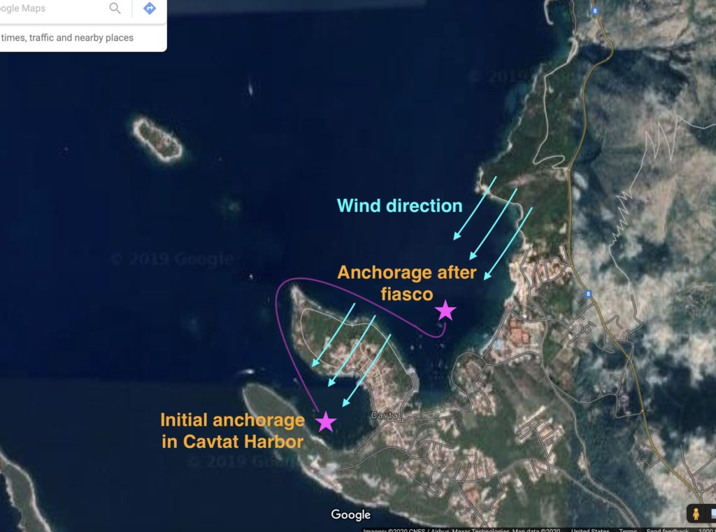 Two Cavtat Harbors and indication of impact from wind/wave direction and fetch