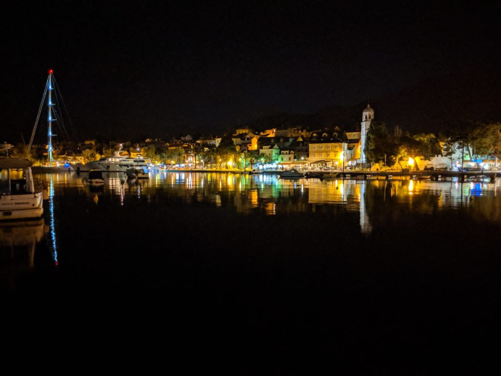 A picture of Cavtat Harbor taken two weeks prior – a perfectly calm night!