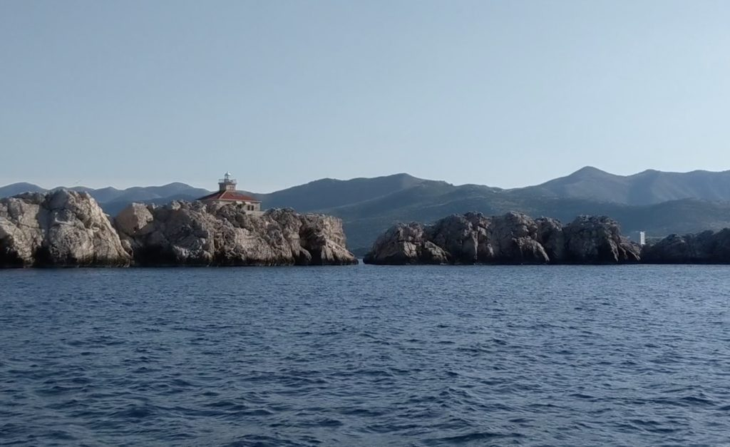 Islands and lighthouse outside Dubrovnik as we headed northeast