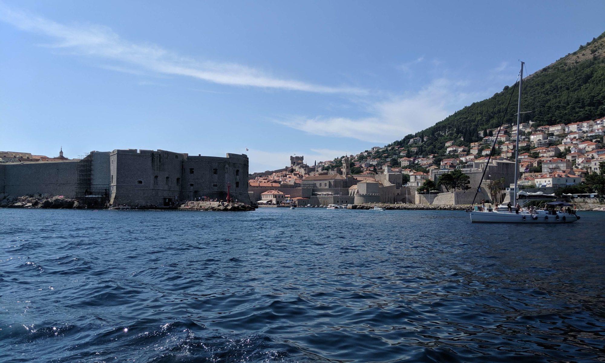 Dubrovnik Harbor as seen from Sea Rose as we motor past