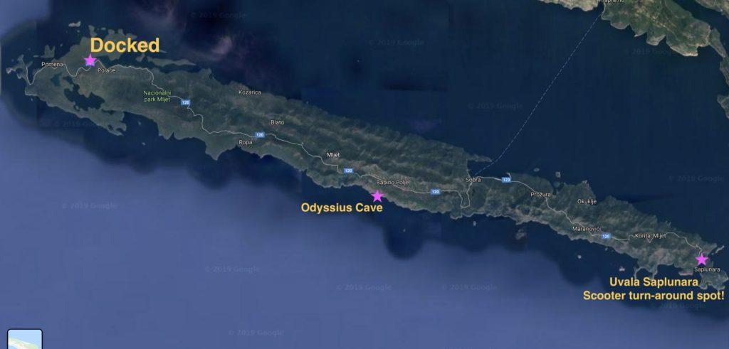 Map of Otok Mljet, Croatia