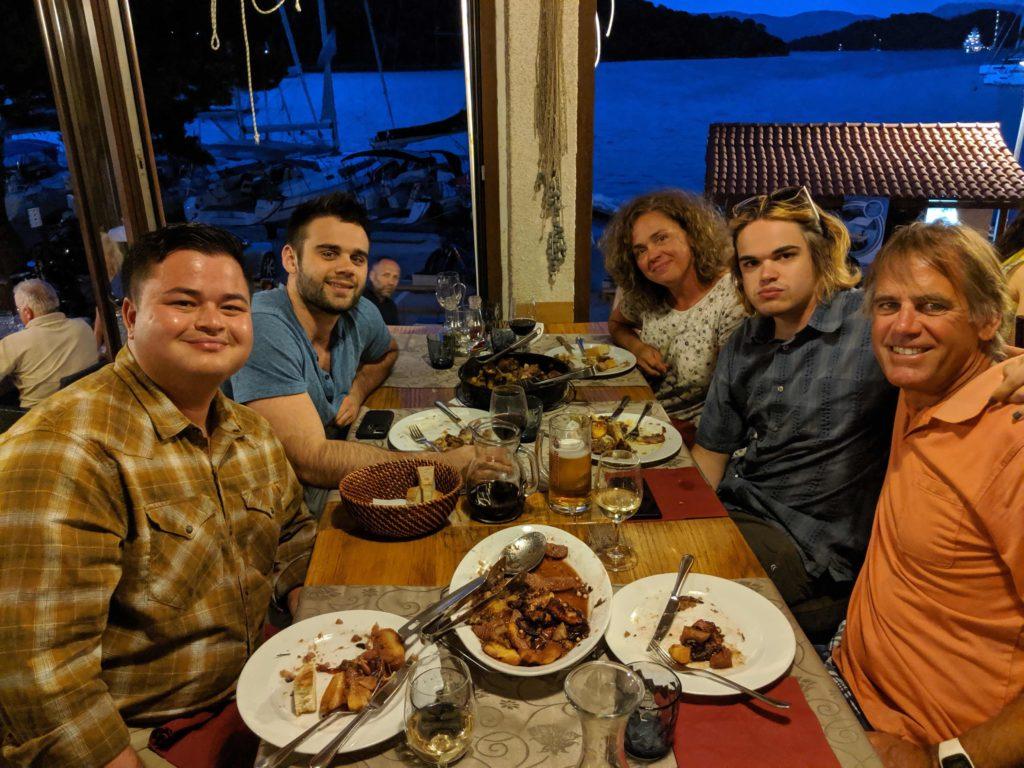 Andrew, Zack, Karen, Alaska and Tom - Dinner in Polace, Otok Mljet, Croatia