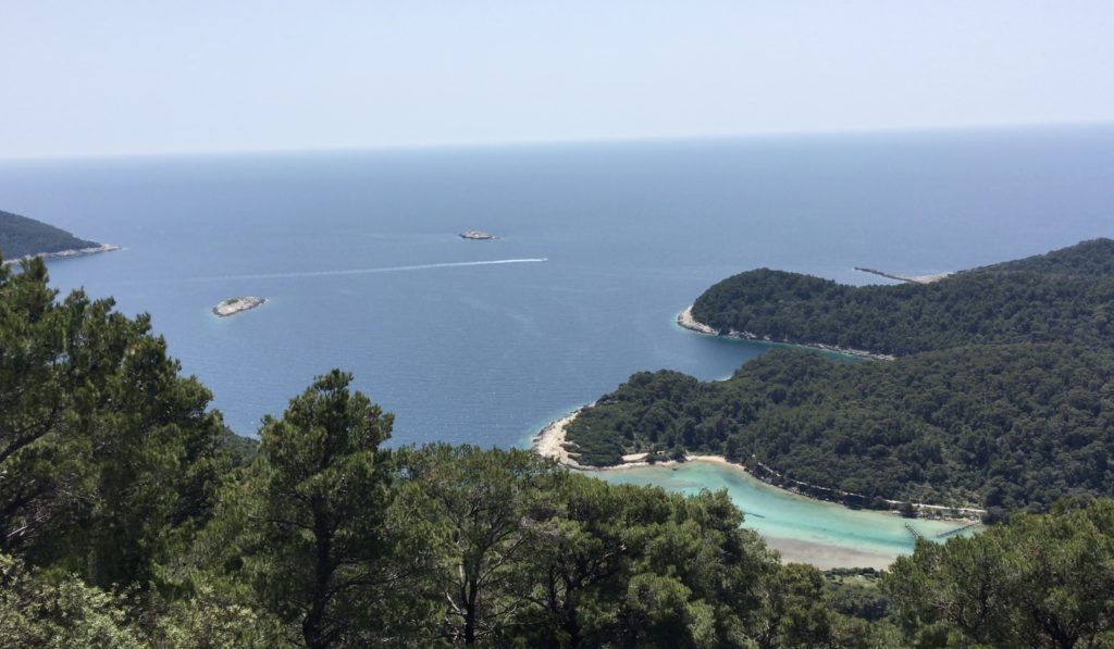 Looking down on the northwest end of Mljet Island, Croatia