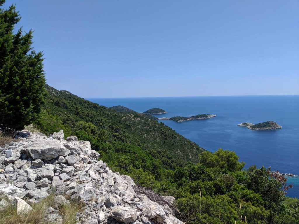 Islets off the northwest coast of Otok Mljet, Croatia, seen from the road that travels along the spine of the island.