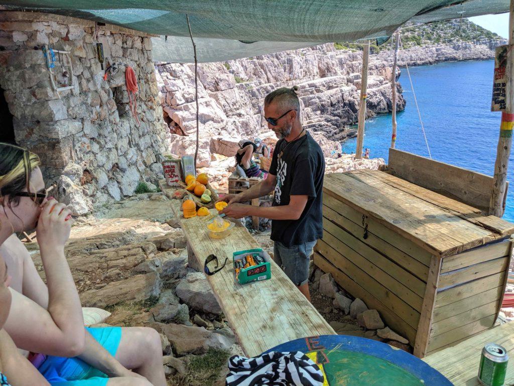 Odyssius Cave snack shack overlooking stunning Otok Mljet coastline - Croatia