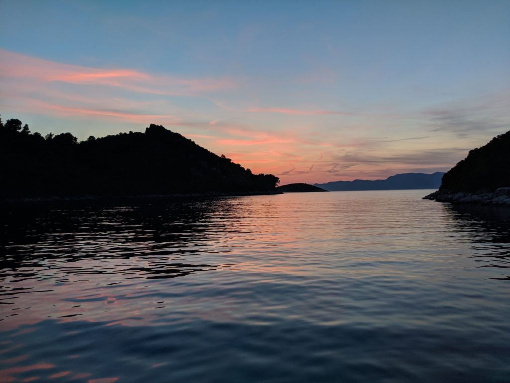 Sunset view from our anchorage in Uvala Prozura